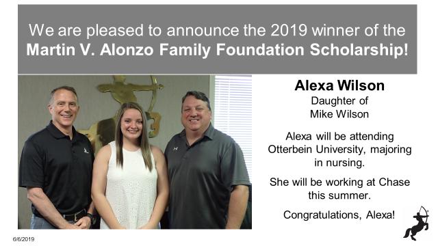 Meet Our 2019 Winner of the Martin V. Alonzo Family Foundation Scholarship!